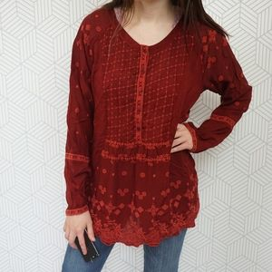 Johnny Was embroidered Red Button up tunic